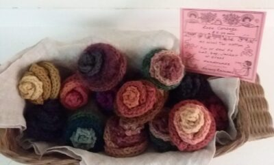 Knit corsages by Nancy Randall