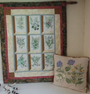 Nature printed pillow and quilted nature printed quilt by Yvonne Brice