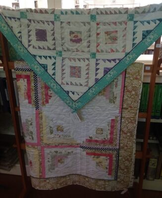 Blue trim quilt and gold and pink quilt by Marjorie Wilson 2020