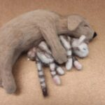 felted wool puppy hugging kitty