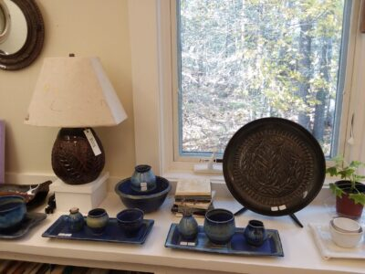 Lamp, mirror, plate and pottery containers by Lynn Curran Sargent