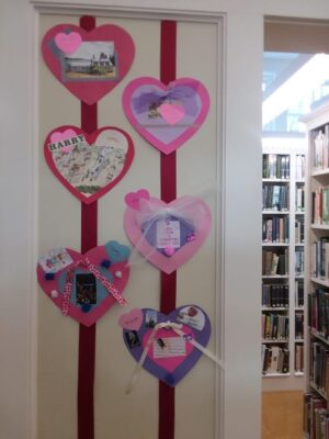 Valentines on display at Friend Memorial Library