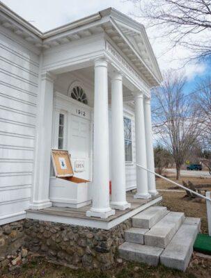 Friend Memorial Library book drop shot in Brooklin Maine taken by Steve Greenberg