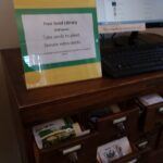 sign that reads free seed library, take what you need, donate seeds, self service, thanks to the Brooklin Food Corps and the Brooklin School PTF