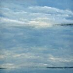 Blue and white painting of clouds, sky, and water