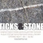 Post card advertising art show opening with a photo of granite with a line of quartz through it. Jennifer Sansosti, original and mixed media works. August 2021 opening night August 6 from 6-8PM VidaDelMar.net